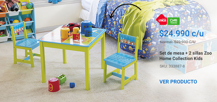 Set de mesa + 2 sillas Zoo Home Collection Kids