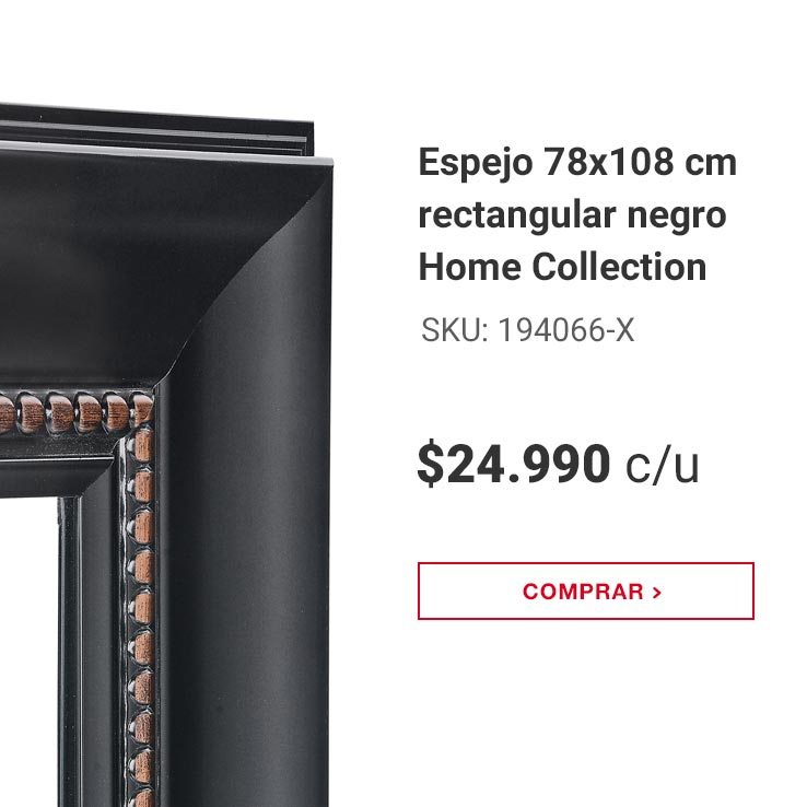 Espejo 78x108 cm rectangular negro Home Collection