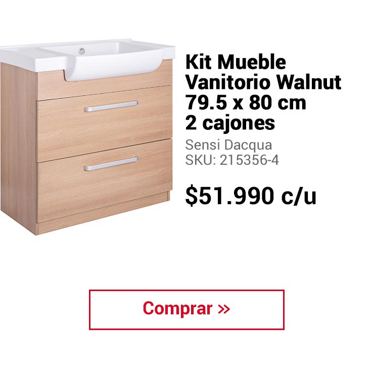 Kit Mueble Vanitorio Walnut 79.5 x 80 cm 2 cajones Sensi Dacqua