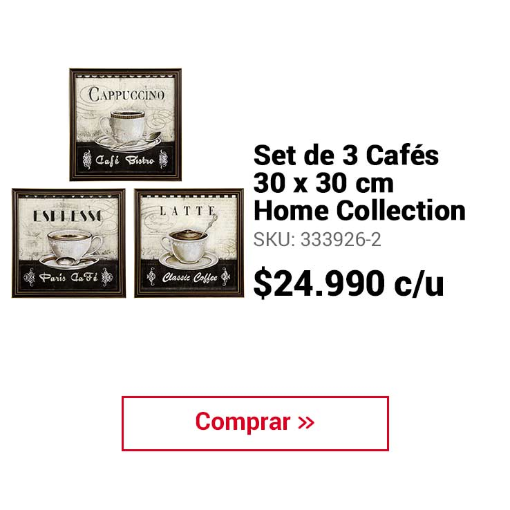 Set de 3 Cafés 30x30 cm Home Collection